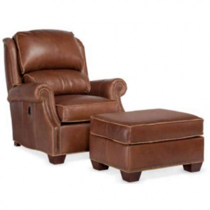 Martin Leather Tilt Back Chair and Ottoman
