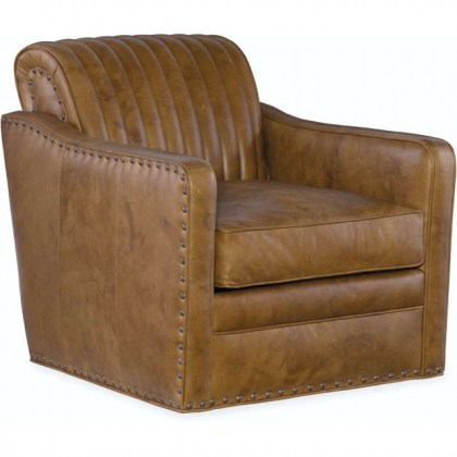 Beth Leather Swivel Tub Chair
