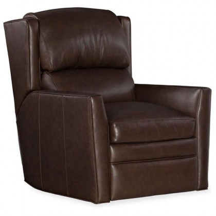 Samuel Leather Swivel Glider Power Recliner with Adjustable Headrest