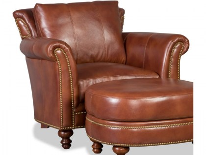 Richardson Leather Chair and Ottoman In Stock
