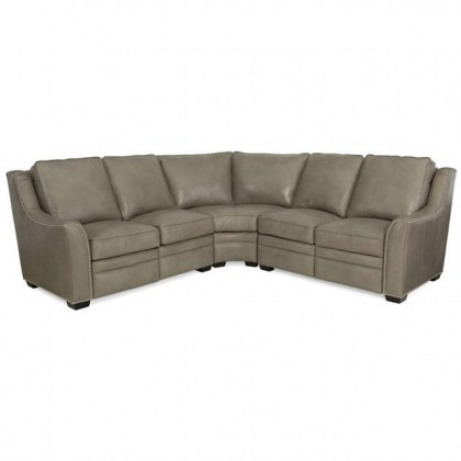 Grey Leather Power Reclining Sectional - Made in America