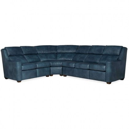 Wilshire Leather Power Reclining Sectional With Adjustable Headrest