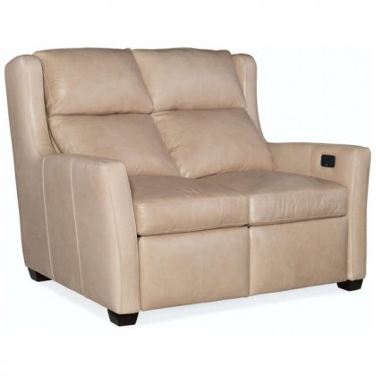 Cane Leather Power Reclining Loveseat with adjustable headrest