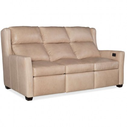 Cane Leather Power Reclining Sofa with adjustable headrest