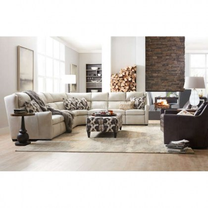 Cane Leather Power Reclining Sectional With Articulating Headrest