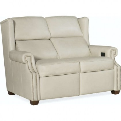 Norfolk Leather Power Reclining Loveseat With Articulating Headrest