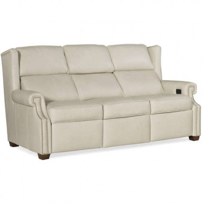 Norfolk Leather Power Reclining Sofa With Articulating Headrest