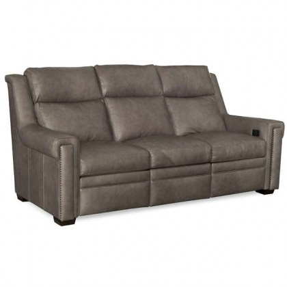 Clearance Leather Power Reclining Sofa With Adjustable Headrest