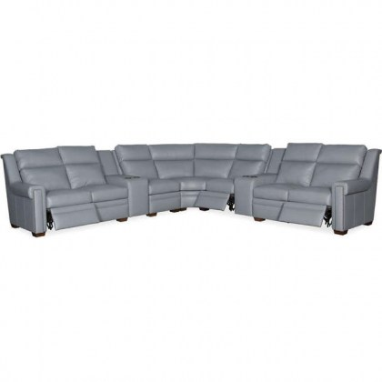 Gray Leather Power Reclining Sectional With Adjustable Headrest
