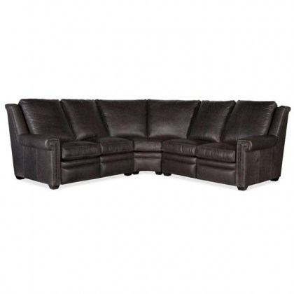 Bilbrook Leather Power Reclining Sectional With Adjustable Headrest