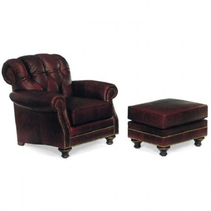 English Pub Leather Chair and Ottoman