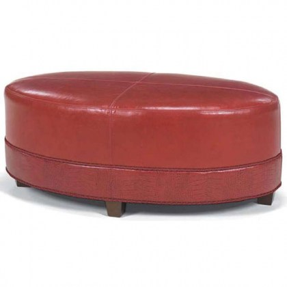 Red Leather Cocktail Ottoman