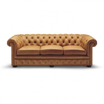 Button Tufted Leather Sofa