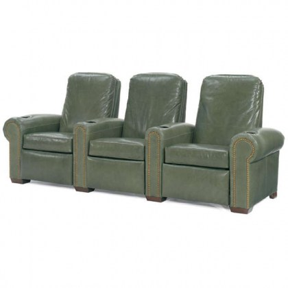 Green Leather Home Theater Seating - Power Recline
