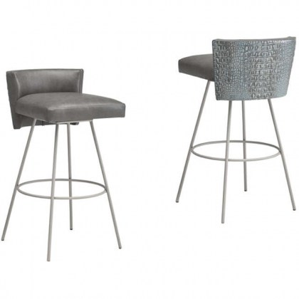 Modern Leather Swivel Bar Stool - Alfie