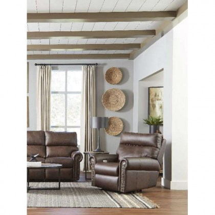 Curtis Leather Power Swivel Glider Recliner With Power Headrest