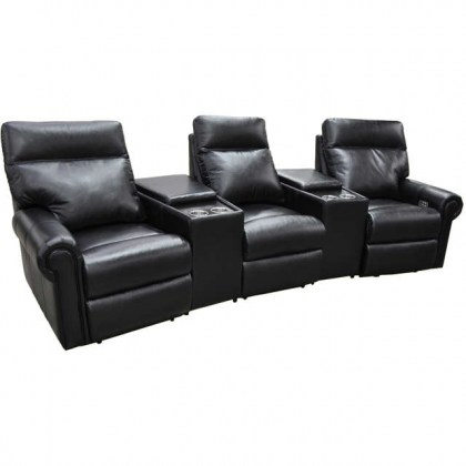 Curtis Leather Power Reclining Home Theater Seating