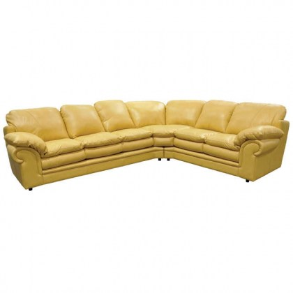 Yellow Leather Sectional - Santa Barbara