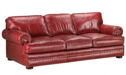 Red Leather Queen Sofa Sleeper