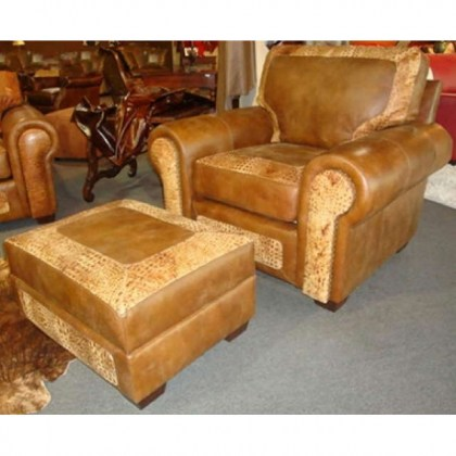 Dacula Leather Chair and Ottoman