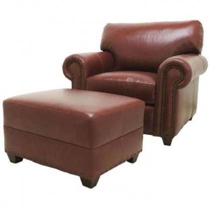 Kahne Leather Chair and Ottoman