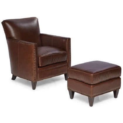 Logan Leather Chair and Ottoman