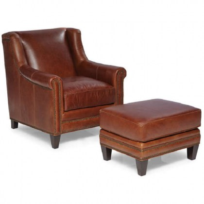 Pendleton Leather Chair and Ottoman - In Stock Furniture