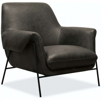 Ambroise Leather Club Chair  - Grey