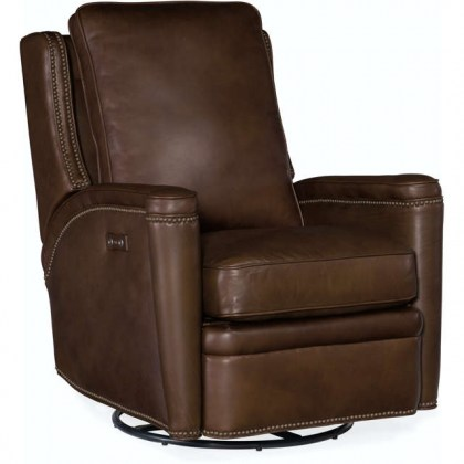 Rylea Leather Power Swivel Glider Recliner