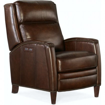 Declan Leather Power Recliner With Articulating Headrest - Brown