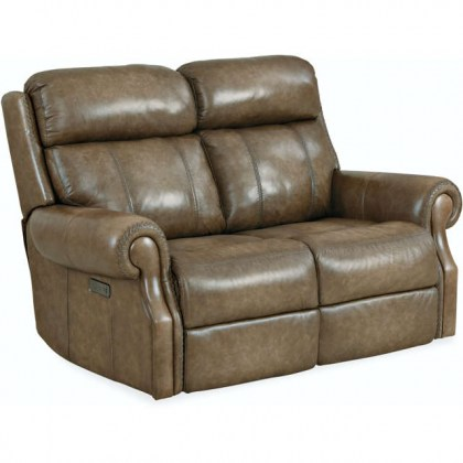 Brooks Leather Power Reclining Loveseat With Articulating Headrest