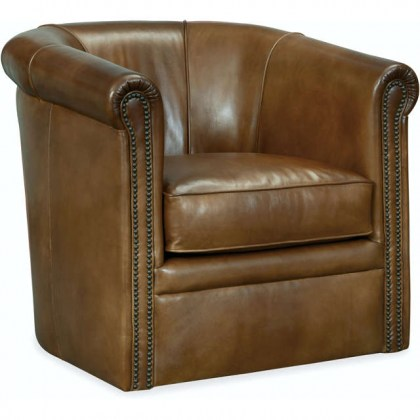 Axton Leather Swivel Chair - Brown