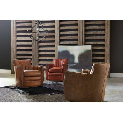 Bazzi Leather Swivel Chair