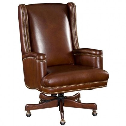 Brown Leather Swivel Tilt Desk Chair