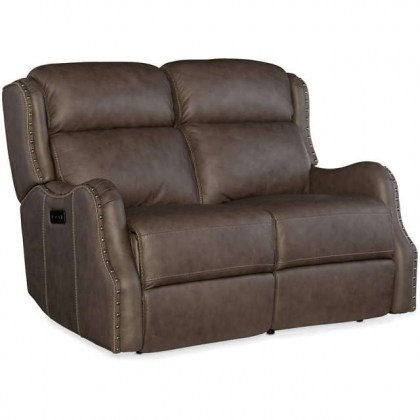 Suzy Leather Reclining Sofa with Articulating Headrest