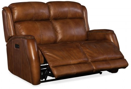 Wilson Leather Reclining Sofa with Articulating Headrest