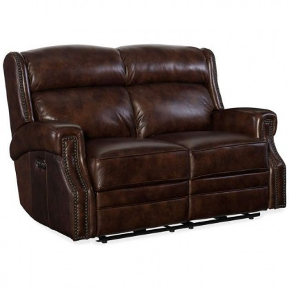 Skylar Leather Reclining Sofa with Articulating Headrest