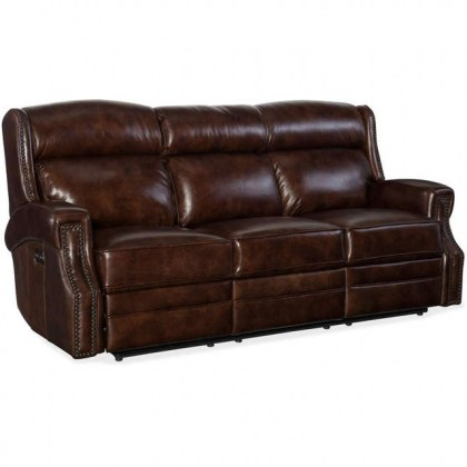 Harlow Leather Reclining Sofa with Articulating Headrest