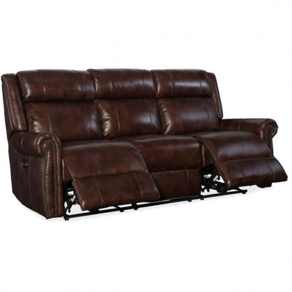 Dunes Leather Reclining Sofa with Articulating Headrest
