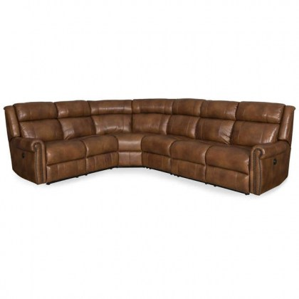 Denny Leather Power Reclining Sectional with Power Headrest