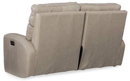 Burrow Power Reclining Leather Sofa with Adjustable Headrest